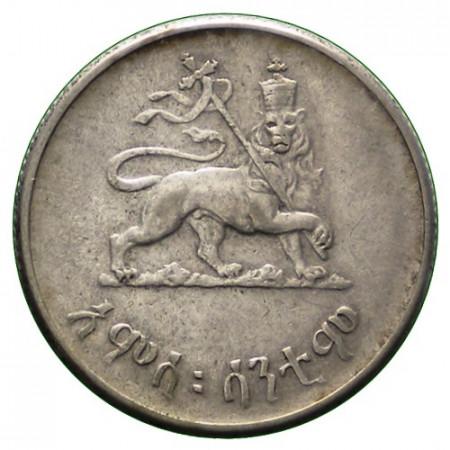 """EE1936 (1943-44) * 50 Cents Argent Éthiopie """"Hailé Selassié"""" (KM 37) TTB"""
