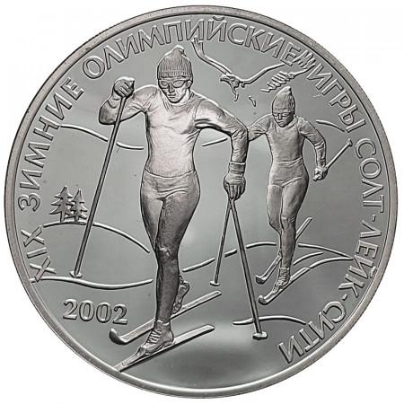 """2002 * 3 Roubles Argent Russie """"XIX Jeux Olympiques d'Hiver, Salt Lake City"""" (Y 755) BE"""