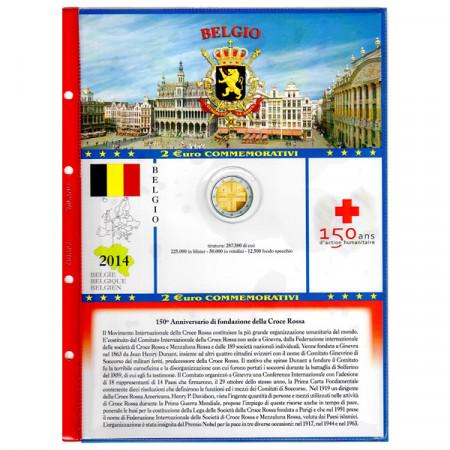 """Feuille + pochette pour 2 euro commémorative BELGIQUE 2014 """"Croix-Rouge"""" * ABAFIL"""