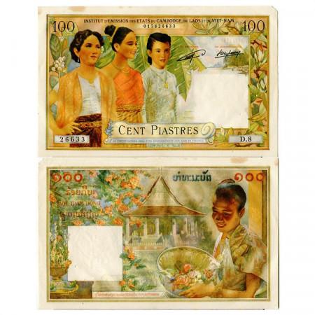 "ND (1954) * Billet Indochine Française ""Laos"" 100 Piastres (p103) TB+"