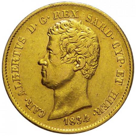 "1834 T (P) * 20 Lire Napoléon Or Royaume de Sardaigne ""Charles-Albert"" - Turin TTB+/SUP"