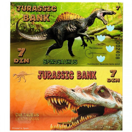 "2015 * Billet Polymère Jurassic Bank 7 Din ""Spinosaurus"" NEUF"
