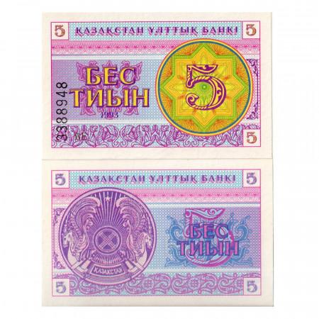 "1993 * Billet Kazakhstan 5 Tyin ""Arms"" (p3) NEUF"