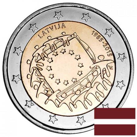 """2015 * 2 Euro LETTONIE """"30e Anniversaire du Drapeau Européen"""""""