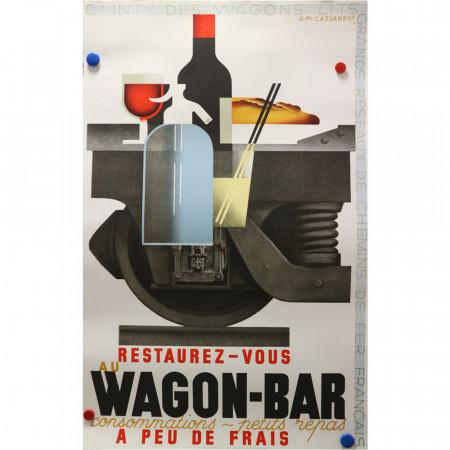 """1989 (1932) * Affiche Publicitaire Original """"Wagon-Bar - A Peu De Frais - A.M. CASSANDRE"""""""