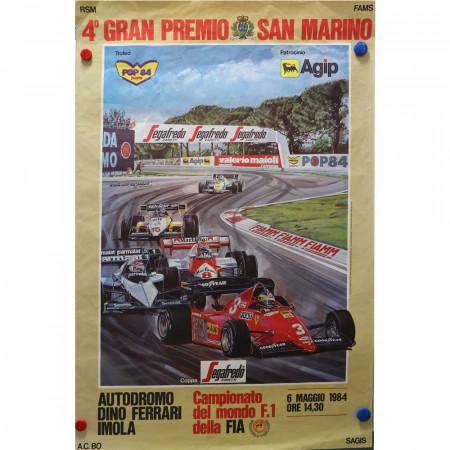"""1984 * Affiche Publicitaire Original """"4° Gran Premio di San Marino Formula 1 - ANTONIO DE GIUSTI"""""""