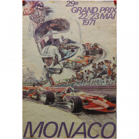 """1971 * Affiche Publicitaire Original """"29° Gran Premio di Monaco Formula 1 - CARPENTIERI"""""""