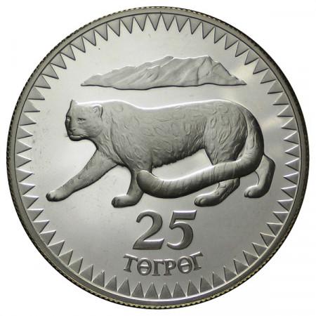 """1987 * 25 Tugrik Argent Mongolie """"25e Fondation WWF"""" (KM 50) BE"""