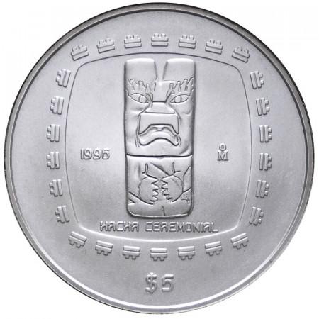 1996 * 5 pesos 1 OZ Mexique Once argent Hacha ceremonial