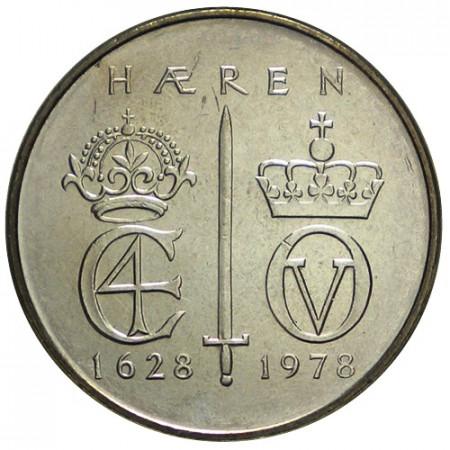 """1978 * 5 Kroner Norvège """"250e Anniversaire -Norwegian Army"""" (KM 423) UNC"""