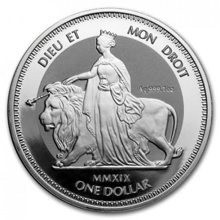"""2019 * 1 Dollar Argent 1 OZ Îles Vierges Britanniques """"Una And The Lion"""" Prooflike"""