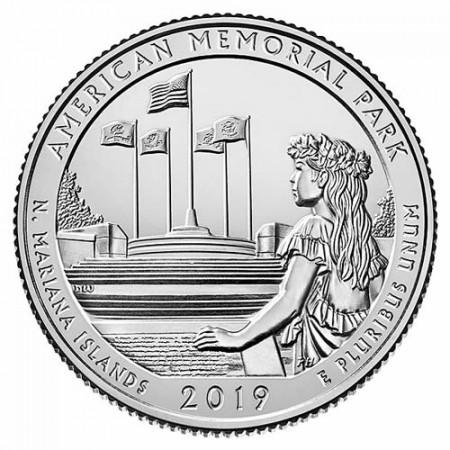 """2019 * Quart de Dollar (25 Cents) États-Unis """"American Mem Park - Mariana Islands"""" UNC"""
