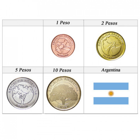 """2017-2018 * Série 4 Pieces Argentine """"Pesos"""" UNC"""