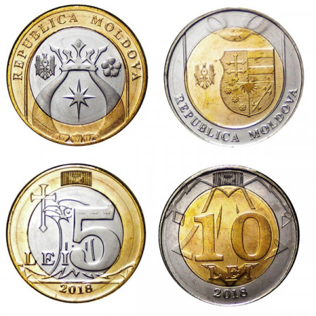 "2018 * Set 2 Pieces 5+10 Lei Moldavie ""Lei"" UNC"