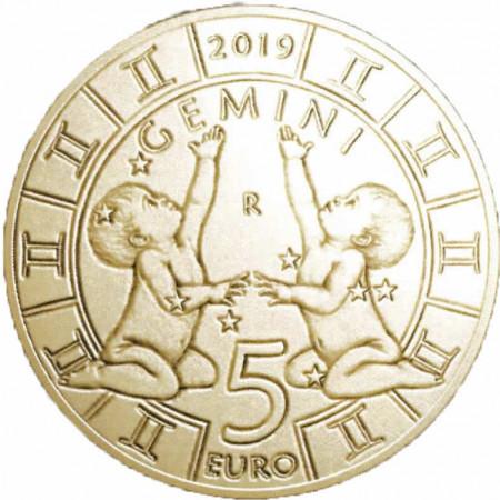 """2019 * 5 Euro Bronzital SAINT MARIN """"Serie Zodiaque - Gémeaux"""" UNC"""