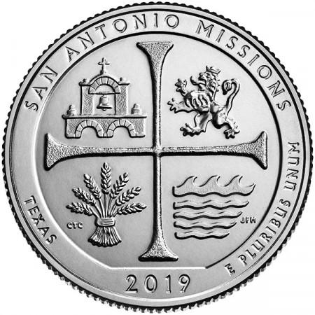 """2019 * Quart de Dollar (25 Cents) États-Unis """"San Antonio Missions National Historical Park"""" UNC"""