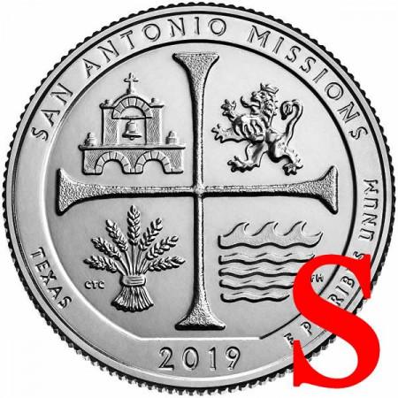 """2019 * Quart de Dollar (25 Cents) États-Unis """"San Antonio Missions National Historical Park"""" S UNC"""