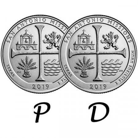 """2019 * 2 x Quart de Dollar (25 Cents) États-Unis """"San Antonio Missions National Historical Park"""" P+D"""