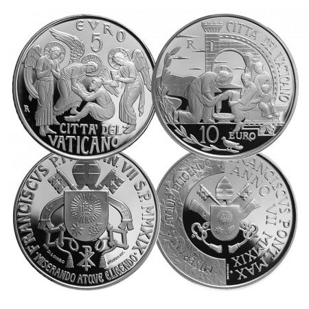 """2019 * Diptyque 5 + 10 Euro Argent VATICAN """"Pape François"""" An VII"""