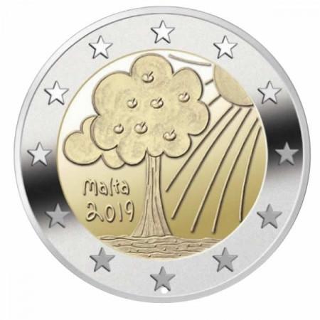 """2019 * 2 Euro MALTE """"Nature et Environnement"""" (4/5) UNC"""