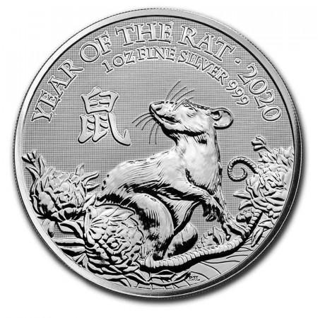 """2020 * 2 Pounds Argent 1 OZ Grande Bretagne """"An du Rat"""" BU"""