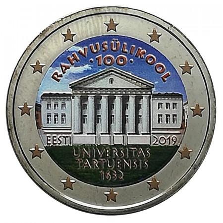 """2019 * 2 Euro ESTONIE """"100ème Fondation de l'Université de Tartu"""" Coloré"""