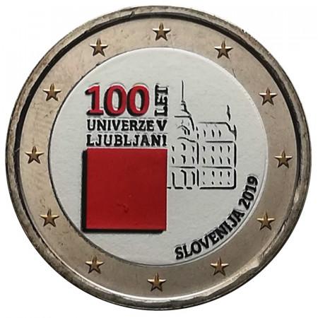 """2019 * 2 Euro SLOVENIE """"100e Fondation de l'Université de Ljubljana"""" Coloré"""