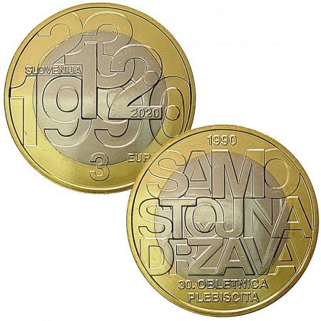 """2020 * 3 Euro SLOVENIE """"30e Souveraineté et Indépendance de la Slovénie"""" UNC"""