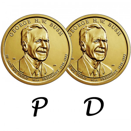 "2020 * 2 x 1 Dollar États-Unis ""George H. W. Bush - 41st"" P+D"