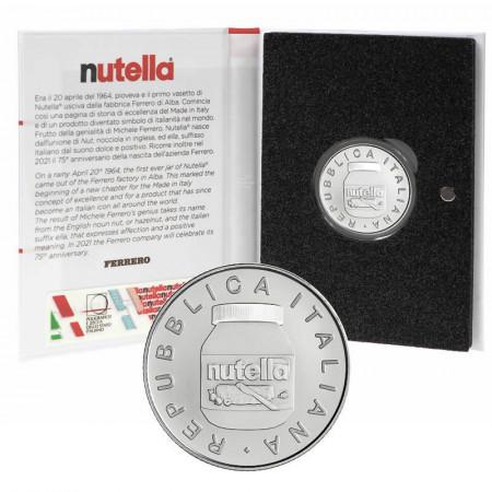 "2021 * 5 Euro Argent ITALIE ""Excellence - NUTELLA® Gruppo Ferrero - BLANC"" BU"