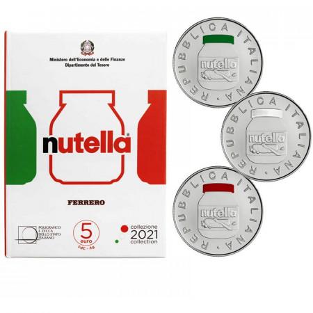 "2021 * Triptyque Argent 5 Euro ITALIE ""Excellence - NUTELLA® Gruppo Ferrero"" BU"