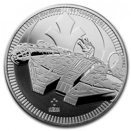 """2021 * 2 Dollars Argent 1 OZ Niue - Nouvelle-Zélande """"Star Wars - Millennium Falcon"""" BU"""