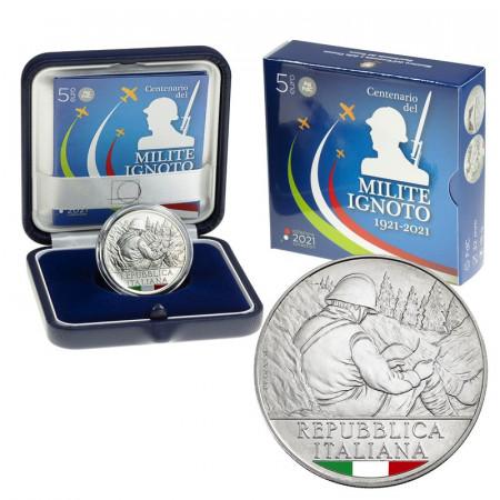 """2021 * 5 Euro Argent ITALIE """"Centenaire du Soldat Inconnu"""" Colorée FDC"""