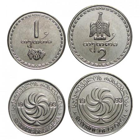 """1993 * 1 + 2 Thetri Géorgie """"État Indépendant"""" (KM 76, 77) UNC"""