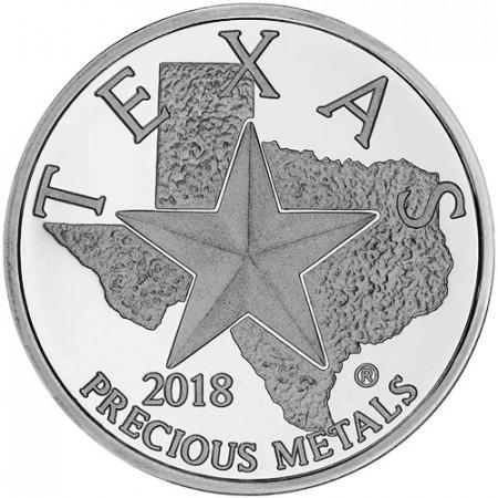 "2018 * Troy Ounce 1 OZ Once Argent ""États Unis - Texas - Precious Metal"" BU"