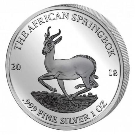 "2018 * 1000 Francs CFA Argent 1 OZ Gabon ""Springbok"" BU"