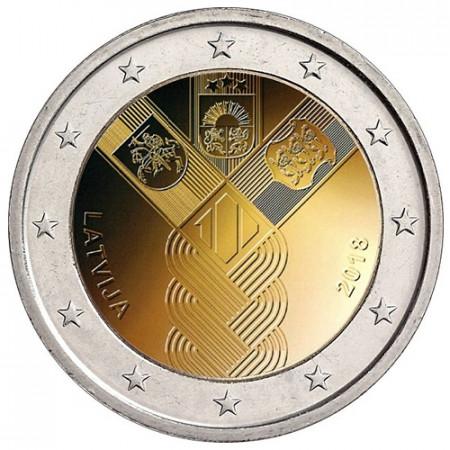 """2018 * 2 Euro LETTONIE """"100e Indépendance des Pays Baltes"""" UNC"""