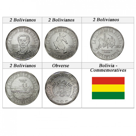 """2017 * Set 4 x 2 Bolivianos Bolivie """"Territorial Claims of Bolivia to Chile"""" UNC"""