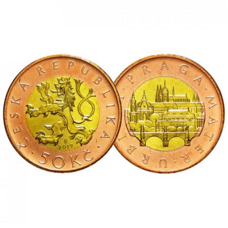 """2017 * 50 Korun République Tchèque """"Crowned Czech Lion"""" (KM 1) UNC"""