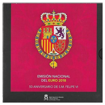 """2018 * ESPAGNA Coffret Officiel Euro """"50e Naissance Roi Felipe VI"""" BU"""