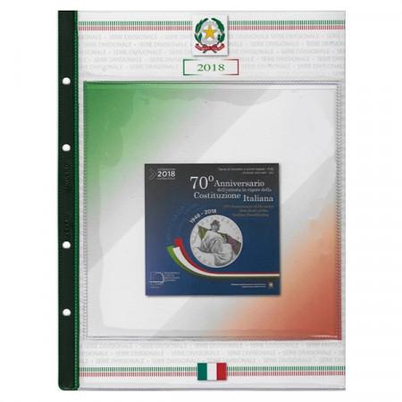 """Feuille + Pochette Coffret Italie 2018 10 Monnaies """"70e Constitution Italienne * ABAFIL"""