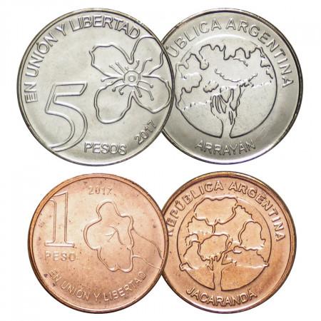 """2017 * Set 2 Monnaies Argentine """"New Design"""" UNC"""