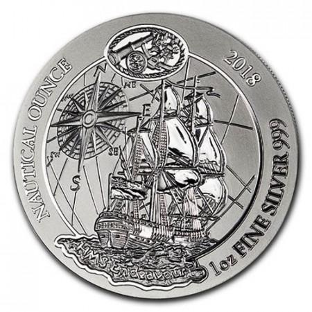 "2018 * 50 RWF Argent 1 OZ Rwanda ""Nautical Ounce - HMS Endeavour"" BU"