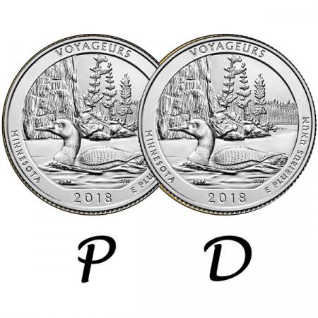 """2018 * 2 x Quart de Dollar (25 Cents) États-Unis """"Voyageurs - Minnesota"""" P+D"""