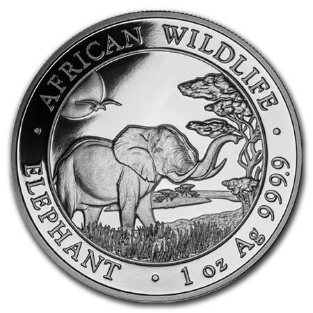 """2019 * 100 Shillings Argent 1 OZ Somalie """"Éléphant"""" BU"""