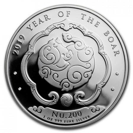 """2019 * Nu. 200 1 OZ Bhoutan """"Année du Cochon"""" BE"""