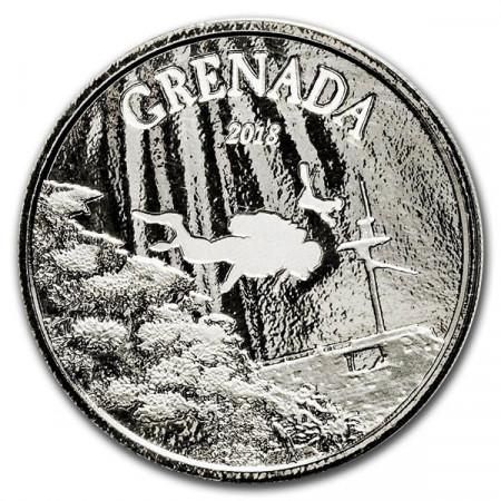 "2018 * 2 Dollars Argent 1 OZ Eastern Caribbean - Grenade ""Diving Paradise"" BU"