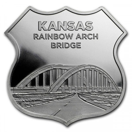 "2018 * Troy Ounce SMI 1 OZ Once Argent ""États Unis - Route 66 - Kansas Rainbow Bridge"" BU"