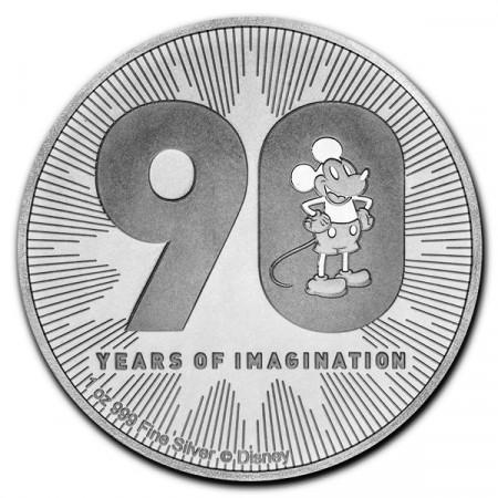 "2018 * 2 Dollars Argent 1 OZ Niue - Nouvelle-Zélande ""Disney - Mickey's 90th Anniversary"" BU"