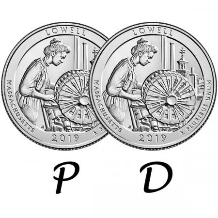 """2019 * 2 x Quart de Dollar (25 Cents) États-Unis """"Lowell Park - Massachusetts"""" P+D"""